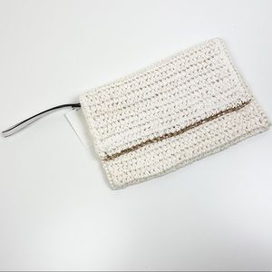 Weaved Paper Bag Wristlet With Gold Chain Trim